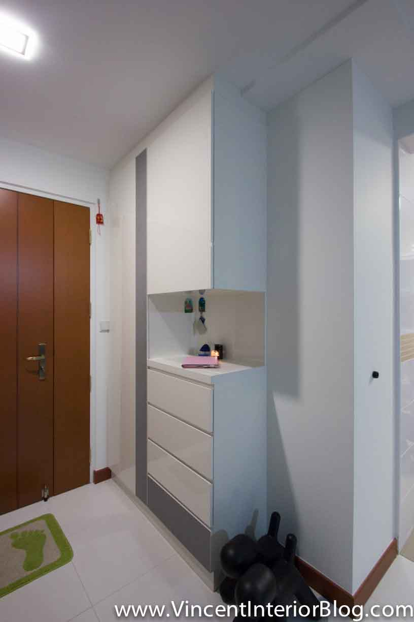 Bto 3 room hdb renovation by interior designer ben ng part 5 project completed vincent - Shoe cabinet for small spaces concept ...