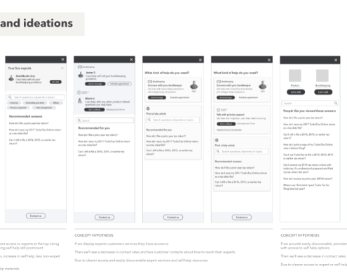 My Experts wireframes
