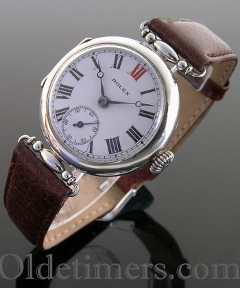 1915 early silver vintage Rolex 'Officers' watch
