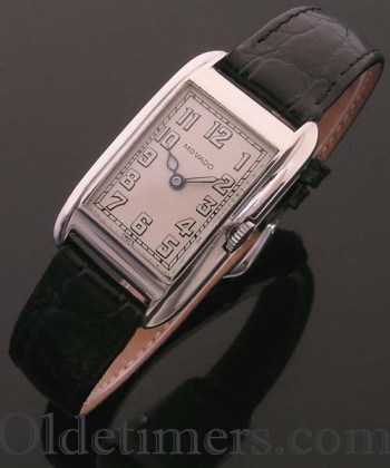 1920s 18ct white gold rectangular vintage Movado watch