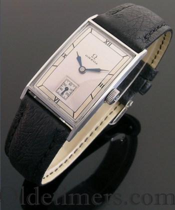 1930s rectangular steel vintage Omega watch