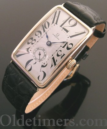 1920s 9ct rose gold rectangular vintage Omega watch