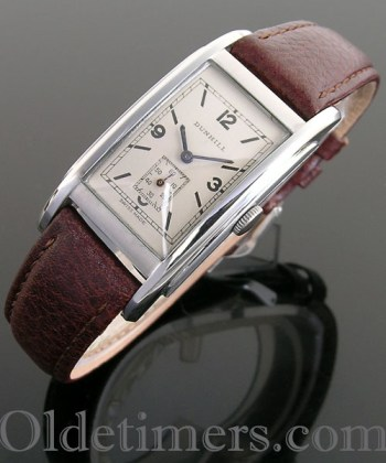 1930s rectangular steel vintage Dunhill watch