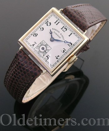1920s 18ct gold square vintage Kendal & Dent watch