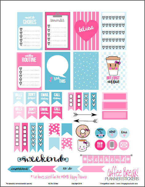 Coffee Break Planner Stickers   Free Printable, for personal use - Full Boxes sized for MAMBI Happy Planner