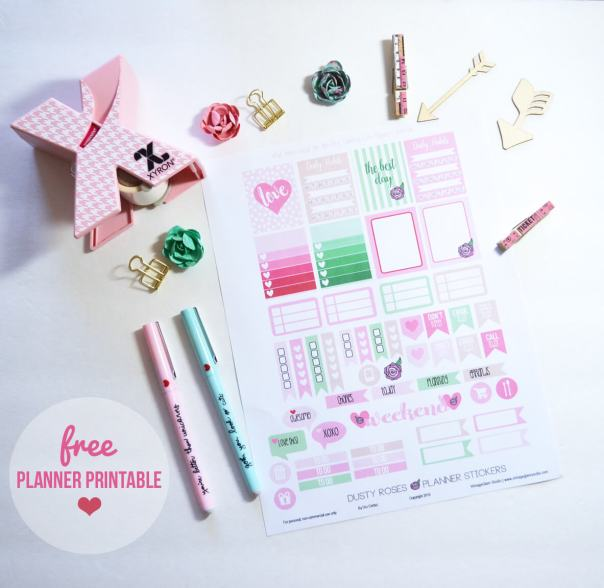 Dusty Roses Planner Stickers