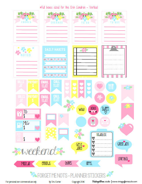 Forget Me Nots Planner Stickers | Free printable, for personal use only.