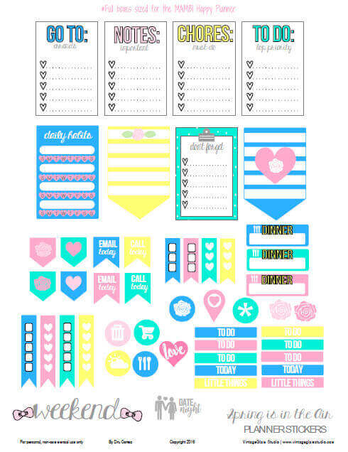 Spring Is In The Air Planner Stickers | Free printable, for personal use only