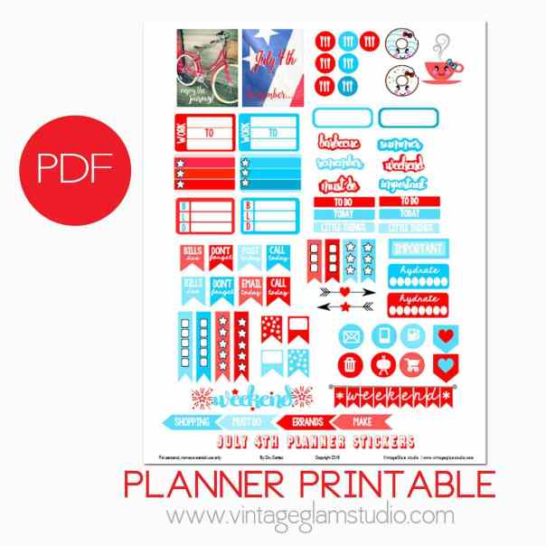 JUly 4th Planner Stickers preview