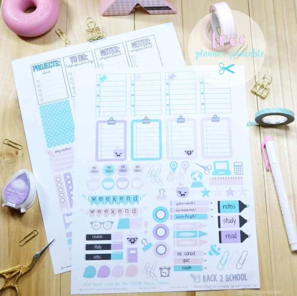 Back 2 School Planner Stickers | Free printable, for personal use only.