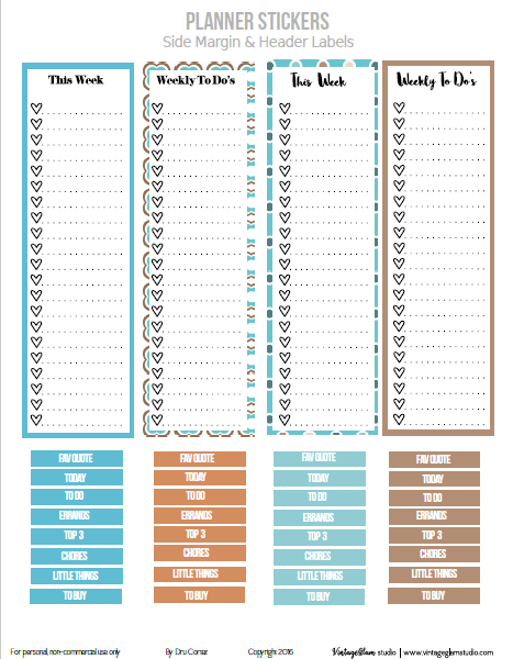 Blue &Tan Side Panel Checklists | Free pritnable, for personal use only