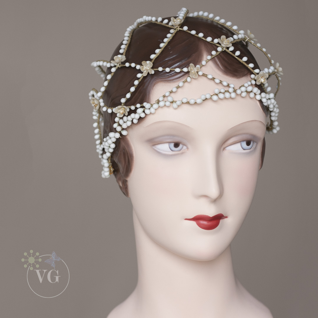 s wax blossom cloche headpiece wedding headpiece s Vintage Cloche Wedding Headpiece