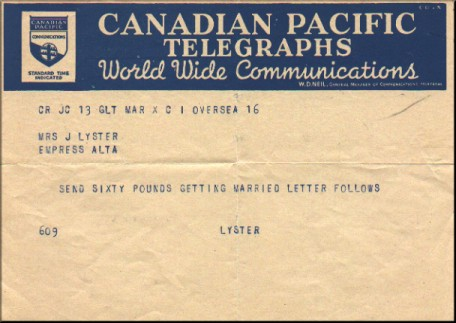 1940s telegram about getting married