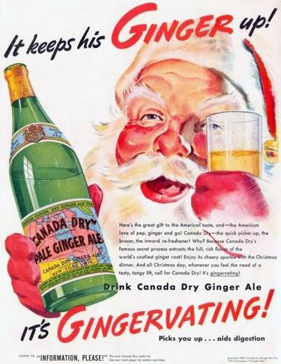 1940s Canada Dry Christmas Ginger Ale Ad