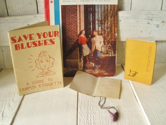 Vintage college student memorabilia handbooks campus etiquette dance card Oregon State University OSU 1930s 1940s