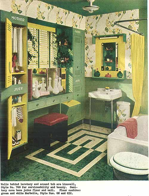 Vintage-green-and-yellow-laminate-floored-bath 1940s