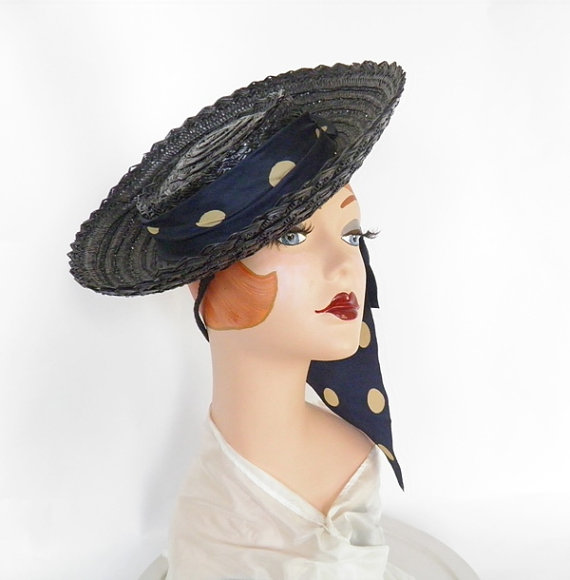 Vintage 1940s hat, blue straw tilt with polka dot ribbon