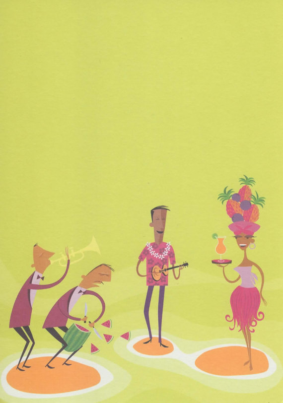 "SHAG Rare ""TIKI BAND"" Greeting Card"