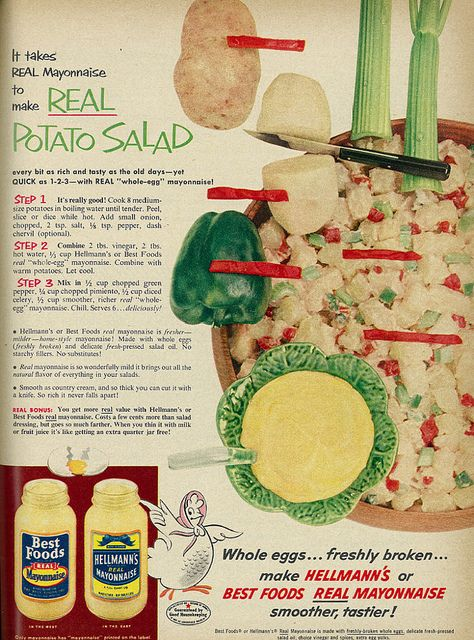 1954 Food Ad, Hellmann's & Best Foods Mayonnaise, with Potato Salad Recipe