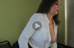 Sexy Office Secretary Mom Enjoys Her Toy