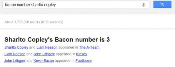 Sharlto Copley Bacon Number