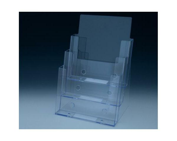 Brochure Holders Clear 3 tier counter top brochure and magazine holder