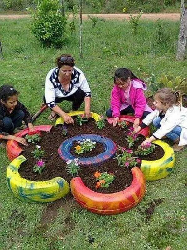 14 ideas s per f ciles para reciclar neum ticos un for Ideas faciles para decorar jardines