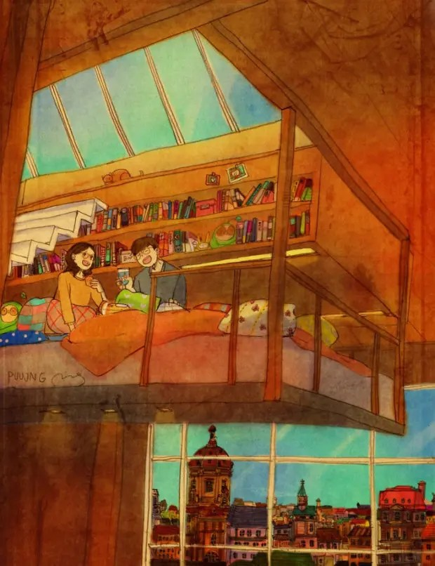 amor-detalles-Puuung-ilustraciones-comer-cama