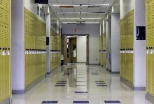School hallway and lockers