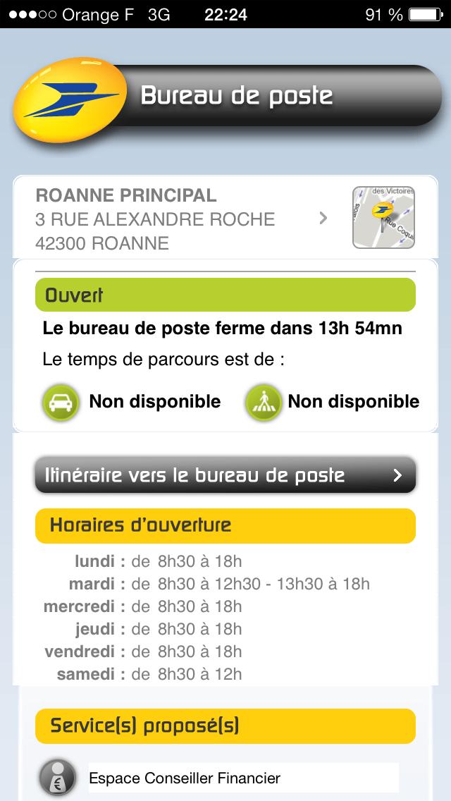 Capture d'écran d'une fiche bureau au calcul d'ouverture erroné sur l'application iOS de la Poste.