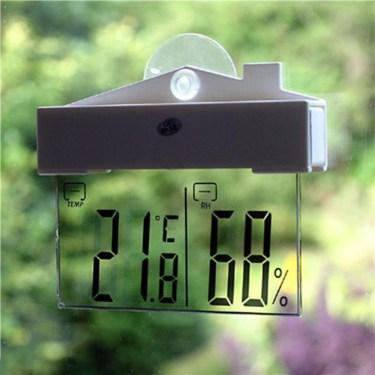 Un thermomètre de fenêtre LCD : ici aucune surface réfléchissante à l'arrière, on lit par transparence.