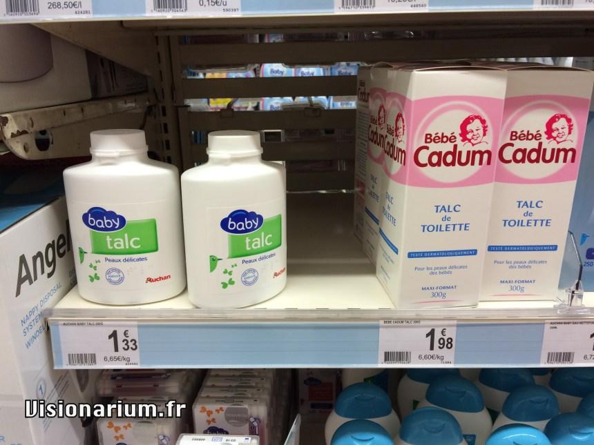 6,65 € le kilo pour Auchan, 6,60 € le kilo pour Cadum. Grande marque 1 – 0 MDD
