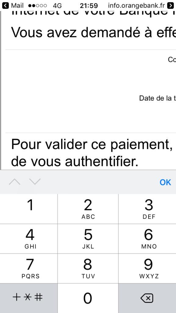 Le clavier s'ouvre automatiquement pour saisir le code 3D Secure, mais il n'y a pas de touche pour valider.