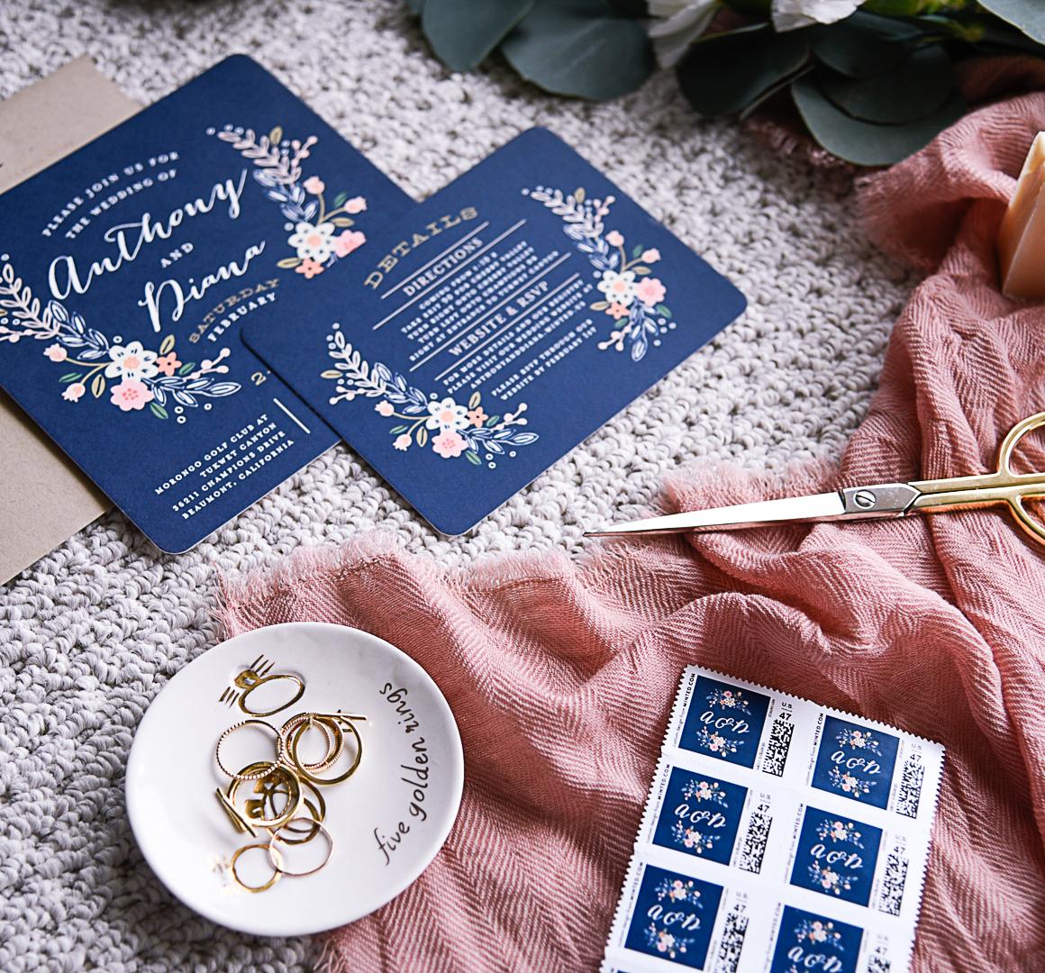 blush navy wedding invitations blush wedding invitations Navy wedding invitations with blush pink floral accents