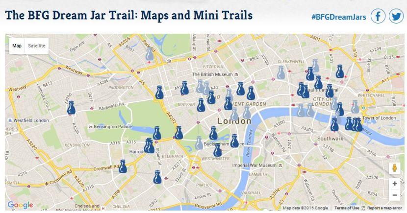 Mapa frascos Visita Londres