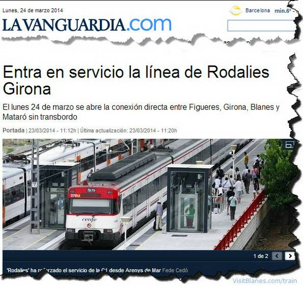 Train service between mataro, blanes, girona and figueres