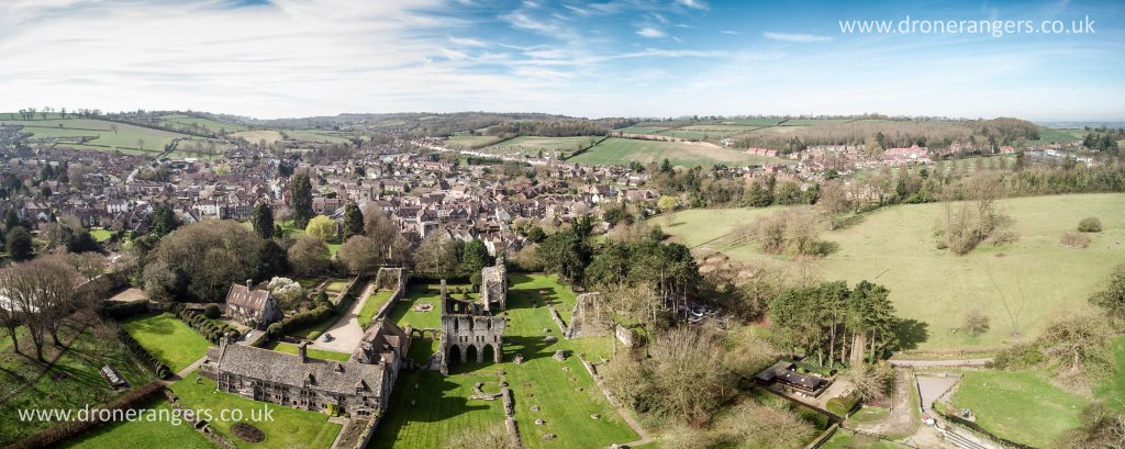 Wenlock Priory and Much Wenlock from the east