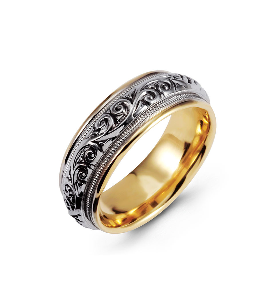 milgrain scroll 14k yellow white gold wedding band milgrain wedding band Create a masterpiece of elegance with this wedding band