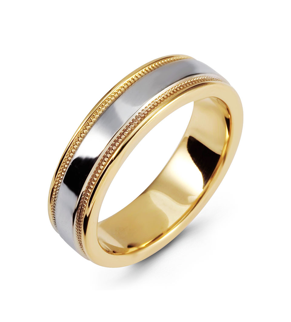 modern two tone ring 14k white yellow gold wedding band two tone wedding band Always remember your wedding day with this two tone ring