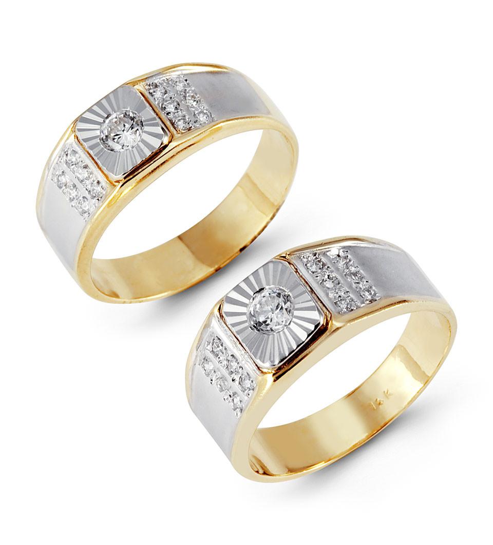 14k two tone laser cut gold round cz wedding band set two tone wedding band Get matching wedding bands