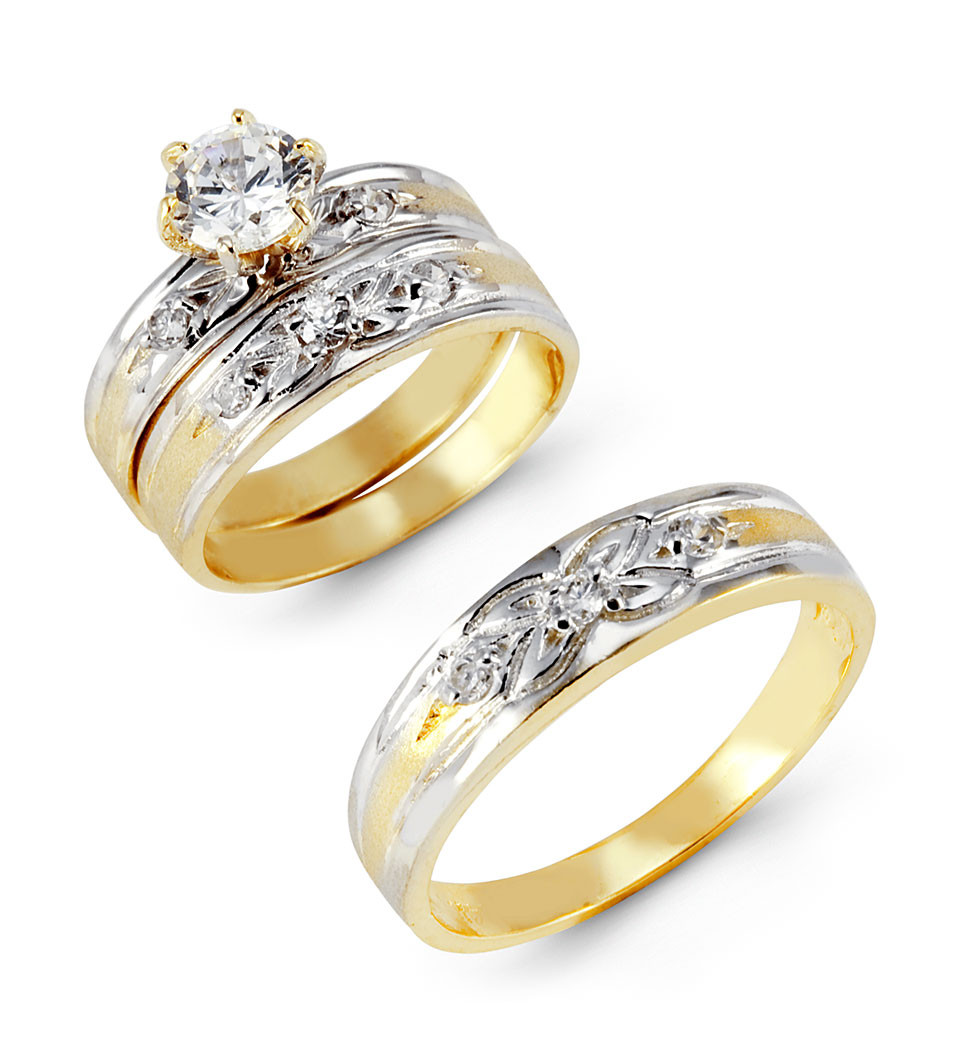 14k two tone gold cubic zirconia flower wedding rings wedding ring trio sets Spice up your life with this great looking trio of wedding rings