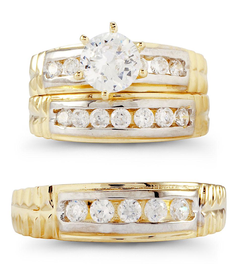 14k white yellow gold round cubic zirconia wedding set cz wedding sets Select matching wedding rings