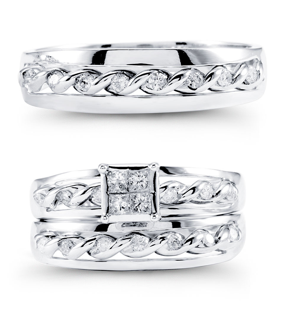 14k white gold round princess diamond bride groom ring wedding ring trio sets Outstanding fine work has taken the usual wedding trio sets