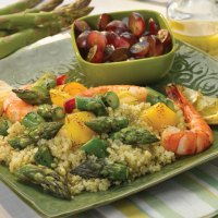 Grilled Asparagus Shrimp Quinoa Salad with Lemon Vinaigrette