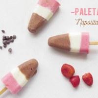 Paletas Napolitano de Yogur: Fresa, Vainilla y Chocolate