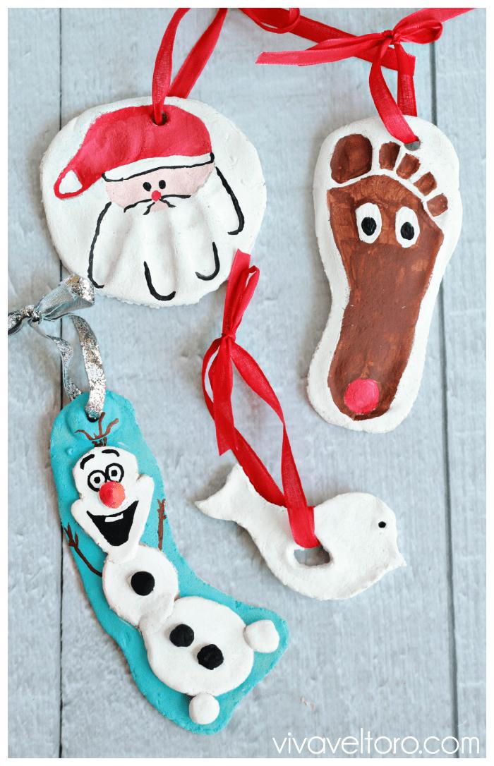 salt dough Christmas ornaments santa rudolph and Olaf