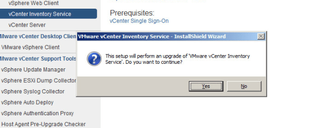 vcenter inventory service upgrade step 2