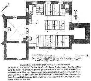 """Die Kirchen des Mittelalters waren bekanntlich """"orientiert"""", d.h. der Chor lag gegen Osten, in Richtung Jerusalem."""