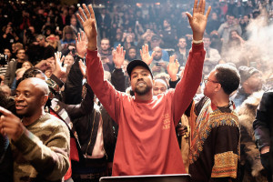 Kanye West performs during the Kanye West Yeezy Show on on February 11, 2016.