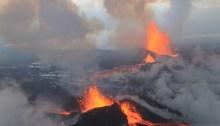 The Holuhraun eruption of Bárðarbunga volcano. Wikimedia Commons, photograph by Peter Hartree.
